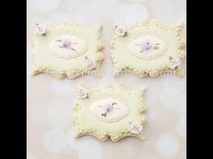 How to Decorate a Hand Painted Rose Plaque Cookie - YouTube