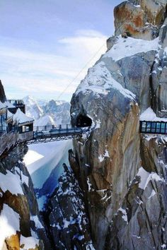 Mt. Aiguille du Midi is a part of the Mont Blanc massif in the Alps, France. There is a long cable cart that takes you all the way to a panoramic viewing platform, a cafe, and an amazing bridge which is pretty breathtaking.