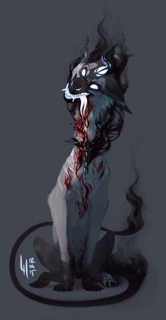 Commission for nyface by LiLaiRa on DeviantArt Anime Wolf, Animal Drawings, Art Drawings, Creepy Art, Image Manga, Creature Concept, Creature Design, Furry Art, Mythical Creatures