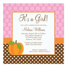 Pumpkin Polka Dot Fall Girl Baby Shower Invitation