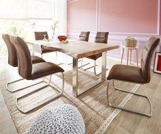 Baumtisch Live-Edge 200x100 Akazie Natur Platte 5,5cm Gestell schmal Möbel Tische Esstische