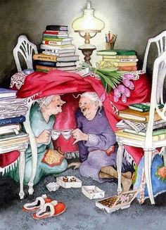 Ideas funny love illustration inge look Diamond Paint, Gif Animé, Norman Rockwell, Old Women, Old Ladies, Belle Photo, Book Worms, Tea Party, Gifs