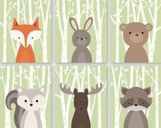 Woodland animaux ensemble imprimable Art par HappyFoxDesign sur Etsy