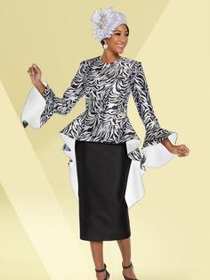 Ben Marc 48227 is a two piece ladies' silky twill church suit that has an animal print 44 inch jacket with bell sleeves and long back peplum and a solid 32 inch skirt. First Lady Church Suits, Women Church Suits, Suits For Women, Elegant Church Suits, Choir Dresses, Church Dresses, Long Dresses, Usher Suits, Classy Suits