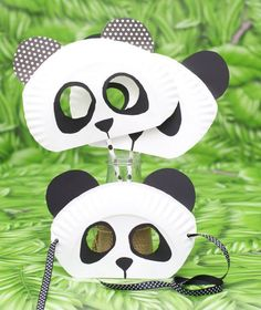 Paper Plate Panda Bear mask for kids Diy Candle Labels, Diy For Kids, Crafts For Kids, Bear Mask, Panda Party, Animal Masks, Party Props, Diy Candles, Chinese New Year