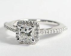 Princess Cut Halo Diamond Engagement Ring in 18K White Gold #BlueNile