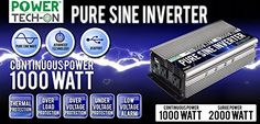PowerTech ON Advanced Technology PURE SINE WAVE Inverter 1000w Cont/2000w Peak, 12v Dc -120v Ac W/black & Red Cables W/ring Terminals, Remote Switch, Protection System & 3 Output Sockets-PS1002 PowerTech ON http://www.amazon.com/dp/B0131L8NLM/ref=cm_sw_r_pi_dp_J6Qfxb0T7S9PD