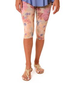 Another great find on #zulily! Pink & Yellow Floral Capri Leggings - Plus #zulilyfinds