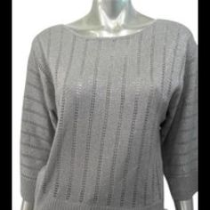 Elementz Metallic Sweater Knit Pull Over Elementz Size: Small/ Pearl Stretch Knit Pull Over Sweater 3/4 Wide Sleeve Scoop Neck Banded Hem Materials: 95% Acrylic, 3% Polyester, 2%Metallic hand wash cold inside out. dry flat Elementz Sweaters Crew & Scoop Necks