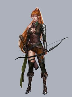 Female elf fighter archer - pathfinder pfrpg dnd d&d fantasy Dungeons And Dragons Characters, Dnd Characters, Fantasy Characters, Female Characters, Dungeons And Dragons Ranger, Elfa, Fantasy Women, Fantasy Girl, Female Character Design
