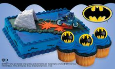 Batman Cake Kit ready to pop on top of your prepared or purchased cake http://partyzone.com.au/batman-bat-cycle-cake-kit-decoration-set-p-3462.html