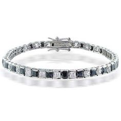 Bling Jewelry Clear and Black CZ Tennis Bracelet Rhodium Plated. Interlocking tongue clasp with wing closures. Measure: 7 inch L x inch W. Diamond Bracelets, Silver Bracelets, Jewelry Bracelets, Link Bracelets, Jewlery, Bangles, Black Jewelry, Fine Jewelry, Stylish Jewelry