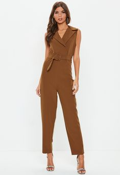 58bf74f75a0 Brown Belted Plunge Jumpsuit - Missguided Brown Belt