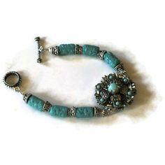 Turquoise glass upcycled vintage bracelet by MiSuenos on Etsy, $12.00