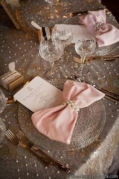 nude and pink wedding decor | blush wedding bow decorating ideas