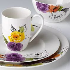 "Lenox ""everyday""  Maybe just the cups? With plain white plates. Options!"