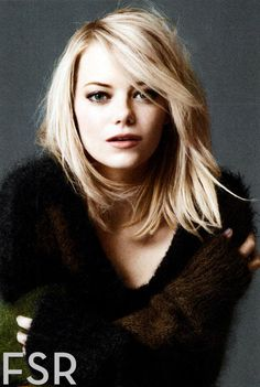 Here is some shoulder-length hair. Also, bangs. Also, Emma Stone.