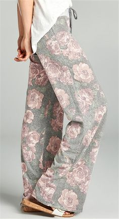 Drawstring Floral Print Wide Leg Pants