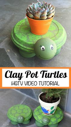 We have the Clay Pot Turtle Instructions to show you how to recreate these adorable creatures. Check out the ideas now and watch the video too. Flower Pot Art, Clay Flower Pots, Terracotta Flower Pots, Flower Pot Crafts, Clay Pot Crafts, Diy Clay, Clay Flowers, Diy Flower, Painted Clay Pots