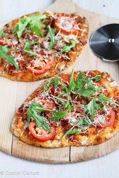 easy peasy: BLT Naan Pizza Recipe with Bacon, Arugula & Tomato | cookincanuck.com