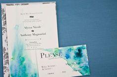 Love Citron watercolor wedding invitations