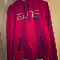 Youth  Red Elite sweatshirt Red elite sweatshirt. Minimal wear. Son grew out of.  I believe it's a 14-16 but can't find a tag. He wears 18-20 now and just slightly small. Nike Tops Sweatshirts & Hoodies