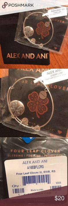 "NWT Alex & Ani Four Leaf Clover Bangle Bracelet Great for gifting! Brand new, Alex & Ani ""four leaf clover"" bangle bracelet in Rafaelian Silver finish. Comes in original plastic packaging, with gift pouch, but no box. From a smoke free home. Thank you for looking, and happy shopping! Alex & Ani Jewelry Bracelets"
