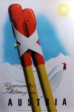 Romantic Skiing in Austria, 1954 - original vintage poster listed on AntikBar.co.uk