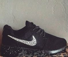finest selection 0ff48 83e4b Sparkle Shoes Swarovski Crystal Swoosh Nike Roshe Run Blackout Shoes 2015  Halfprice Nikes - Click Image to Close