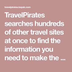 HolidayPirates searches hundreds of other travel sites at once to find the information you need to make the right decisions on flights, hotels & car hires. Booking Sites, Car Rental, Saving Money, Hotels, Search, How To Make, Travel, Cars, Viajes