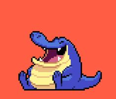 Animated a happy pixel crocodile today in class! :)6 frames, 10 colours, done in Photoshop.