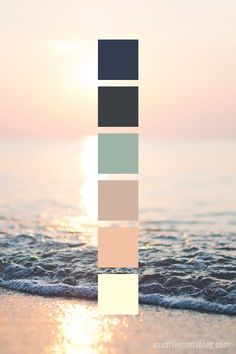Pale Sunset Beach Color Palette Pale Sunset Beach Color Palette Grandmama Farben Color palette inspired by a pale golden peach sunset on the beach. Peach Color Palettes, Sunset Color Palette, Color Schemes Colour Palettes, Sunset Colors, Colour Pallette, Interior Design Color Schemes, Peach Palette, Coastal Color Palettes, Vintage Color Schemes