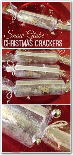 Geschenk Weihnachten - These are simply stunning! Crackers which double up as snow globes. So beautiful. Christmas Tree Decorations For Kids, Christmas Tree Crafts, Christmas Makes, Christmas In July, Christmas Activities, Homemade Christmas, All Things Christmas, Christmas Ideas, Christmas Favors
