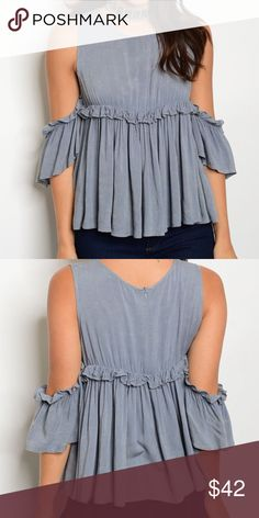 Ruffle cold Shoulder Shirt I have this in sizes small medium and large. This is a grey /blue color. Tops Blouses