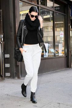 How to make sweatpants look polished. Shop Kendall Jenner's look here.