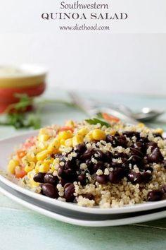 Southwestern Quinoa Salad with Creamy Avocado Dressing   www.diethood.com   #recipe #quinoa #salad