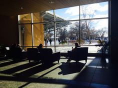 Students catch some rays inside the Library