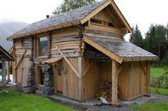 Einebustad  på  Kvitheim Shed, Outdoor Structures, Cabin, House Styles, Home Decor, Room Decor, Sheds, Cottage, Home Interior Design