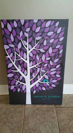 Wishwik Multi Wedding Tree Canvas | Guest Book Alternative | Modern Wedding | Customer Photo | Wedding Colors - Purple & Teal | peachwik.com