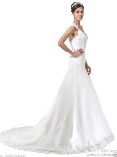 FairOnly White V-neck Cap Shoulder Bridal Wedding Dresses Size 6 8 10 12 14 16