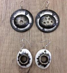 new earrings #clay #blackandwhite