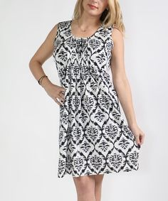 This White Damask Pleat-Front Sleeveless Dress - Plus Too is perfect! #zulilyfinds