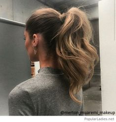 Beautiful high pony tail and earrings