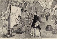 winslow homer. art students and copyists in the louvre gallery, paris. 1868.  via
