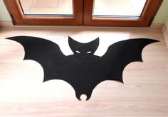 Bat rug. Halloween rug. Custom doormat bat silhouette