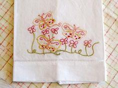 Butterfly Hand Embroidered Tea Towel Finished Needlework | countrygarden - Needlecraft on ArtFire