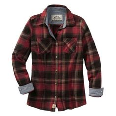 LADIES COTTAGE ESCAPE PLAID FLANNEL SHIRT ($20) ❤ liked on Polyvore featuring tops, cut loose shirt, loose tops, flannel shirt, red plaid top and red top