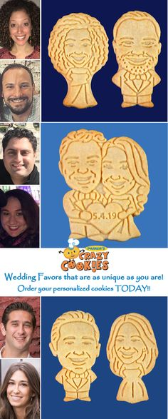 The most unique wedding favor on planet earth! Create personalized cookies of the bride & groom and watch as your wedding guests giggle with delight! A unique way to make your wedding reception one your guests will never forget! Discover the magic at www.parkerscrazycookies.com As seen on the Today Show and Food Network Channel! #weddingfavor #favorswedding #weddingideas #funweddingidea #weddingreception #weddingfavors