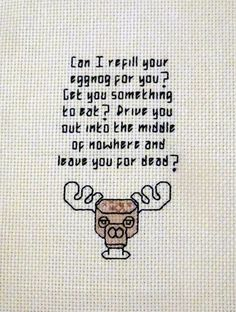 Clark Griswold eggnog rant cross stitch pattern (National Lampoon's Christmas Vacation) - for a cousin?