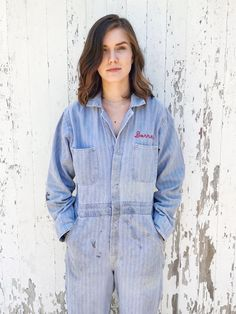 8479dd5b1cd XS Small Vintage Coveralls Mechanic Jumpsuit Workwear Herringbone 50s by  HuntedFinds on Etsy https